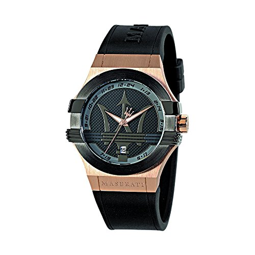Maserati Men's 'Potenza' Quartz Stainless Steel and Leather Fashion Watch, Color:Black (Model: R8851108002)