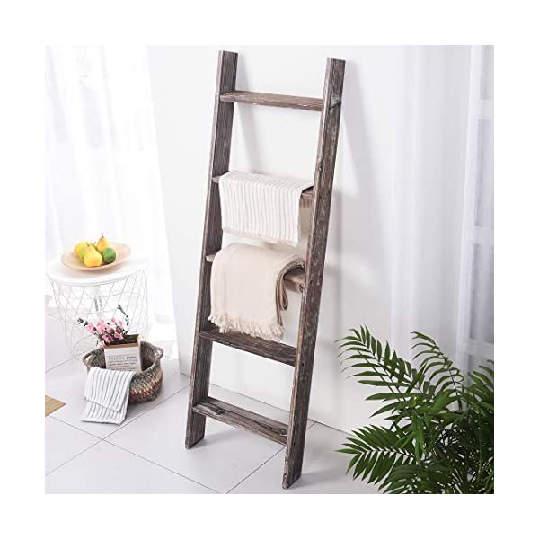 """RHF 54"""" Extra Thick Blanket Ladder,Rustic Wood Ladder, Decorative Heave Duty Ladder for Blanket, Farmhouse Blanket Ladder, Storage Ladder Shelf, Assembly Required, 4.5-Feet (Rustic Brown, 4.5 Ft)"""
