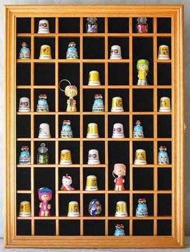 Oak-59 Thimble Miniature Display Case Cabinet Wall Rack Box Shadow Box : TC01 by Shadow Boxes