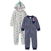 Carter's Baby Boys' 2-Pack One Piece Romper, Grey Dino/Navy Stripe, 6 Months