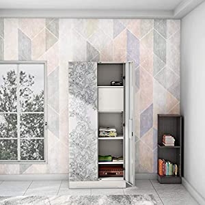 GODREJ INTERIO Slimline Fusion 2 Door Steel Almirah with Locker, Drawer in Royal Ivory and Frost Grey