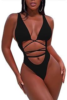 a7d66d58ab9aa Doqcey Women's Perspective Sheer Mesh Ruffle Pants Swimsuit Bikini ...