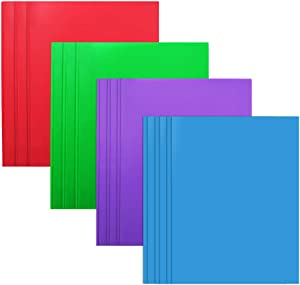 Plastic Folders with 2 Pockets and 3 prongs,12 Pack Multicolor Plastic Two Pocket Folders with Prongs and Card Holder
