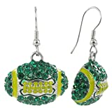 Dome Football Rhinestone Fish Hook Earrings - Dark Green Crystals and Gold Enamel