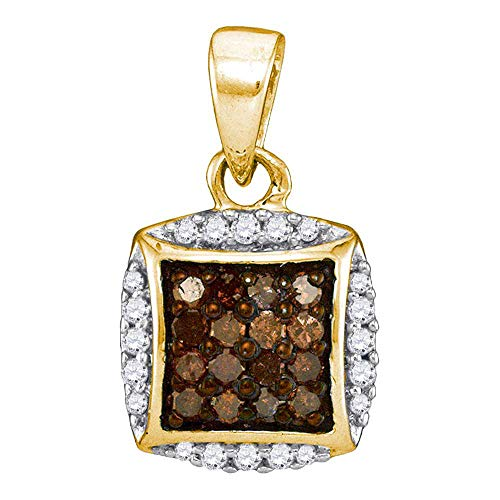 Jewel Tie Solid 10k Yellow Gold Round Chocolate Brown Diamond Square Cluster Pendant (1/4 Cttw.) ()