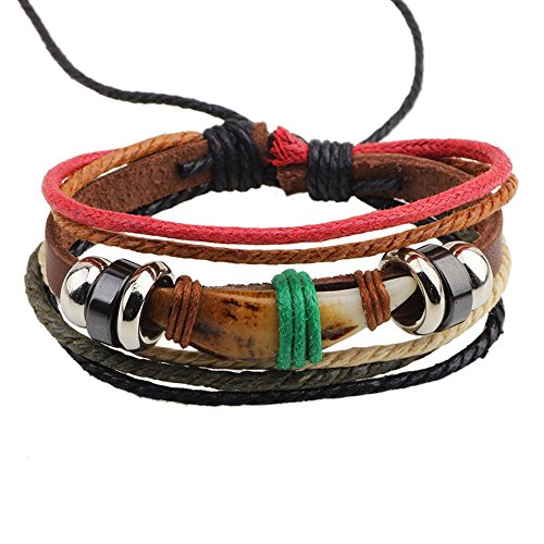 ion Dog Tooth Shape Stone Multi Strand Rope Alloy Beaded Adjustable Leather Bracelet ()