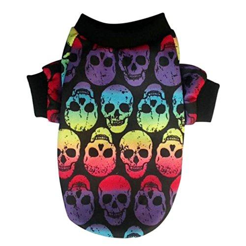(Pet Costume HCFKJ Pet Dog PuppDog Cat Pet Clothes Skull Apparel T-Shirt Clothes Cold Weather Jacket Skull Sweatshirts (L,)