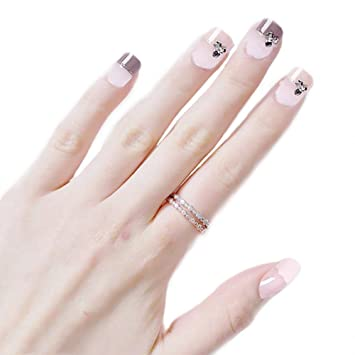 Qulin uñas postizas para niñas con estampado de dibujos ...