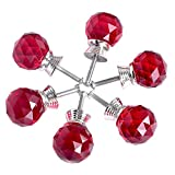 ASIMOON 6pcs 30mm Clear Crystal Glass Cabinet Knob with Screws, Round Diamond Drawer Pulsl Handles Used for Kitchen, Door, Dresser, Cupboard, Wardrobe, Chest(Red)