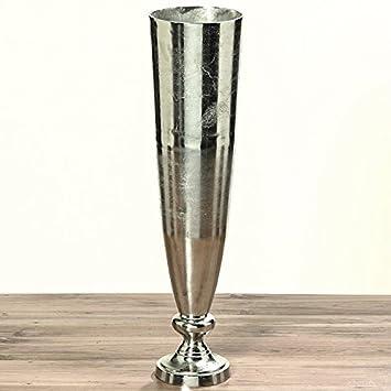 Dafloxx Xxl Vase Romano 93cm Aluminium Raw Nickel Silber Bodenvase