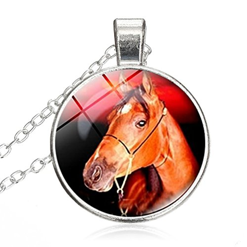 Crystal Necklace Horse Head Vintage jewelry pendant Silver Charm by Pretty Lee