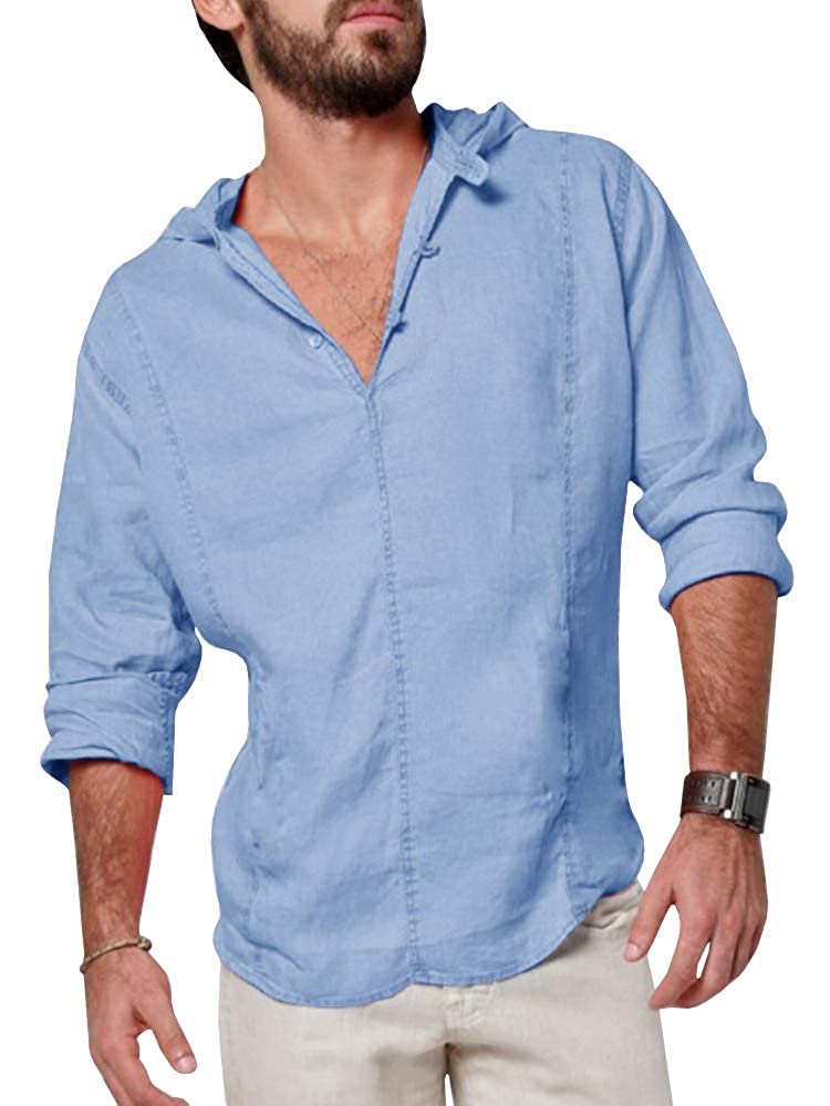 8ce67c6d5f8 Makkrom Mens Linen Hooded Henley Shirts Roll-Up Long Sleeve V Neck Casual  Summer Beach Loose Plain Hoodie at Amazon Men s Clothing store