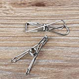 WellieSTR 60 Piece Stainless Steel Metal Spring Clips for Leather Craft Tools Silver Ticket Clip Clothes Hanging Pegs Clips Clamps