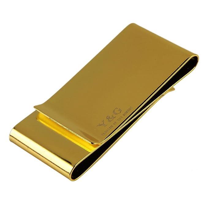 Y&G MC1042 En Bulking presenta el espejo de oro Acero inoxidable triple clip de dinero plegable