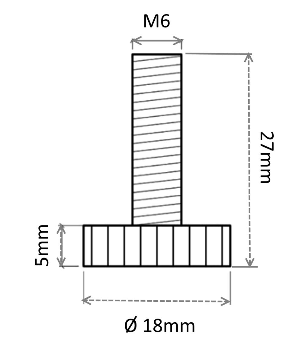 Patas ajustables regulables para muebles M6 para atornillar /Ø18 H27mm negro C42480 4 piezas AERZETIX