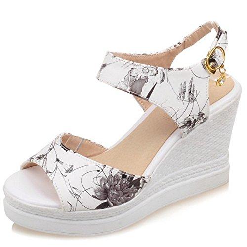 Black Buckle TAOFFEN Sandals Heel Classic Slingback Women High Platform Wedges Print xO7ZqR