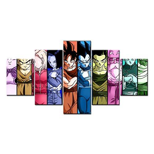 [Goku Vegeta Gohan Piccolo Super God 5 Pieces Wall Arts Modern Prints on Canvas (Unframed)] (Dbz Saiyan Armor Costume)