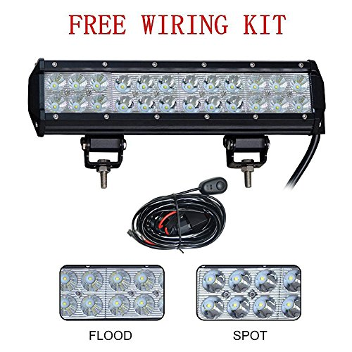 """Amazon Lightning Deal 90% claimed: Simplive® 12"""" 72W 7200LM CREE Spot Flood Combo Led Work Light Bar For Off-road SUV Boat 4x4 Jeep Lamp with Mounting Bracket"""