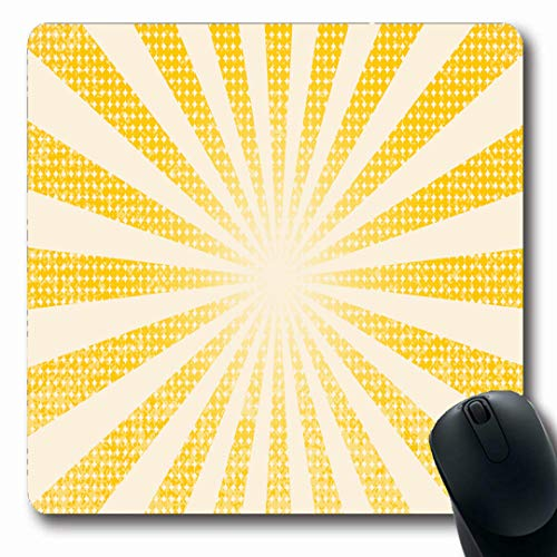 Ahawoso Mousepads Round Red Retro Yellow Abstract Circle Vintage Sunburst Circus Sunshine Graphic Oblong Shape 7.9 x 9.5 Inches Non-Slip Gaming Mouse Pad Rubber Oblong Mat