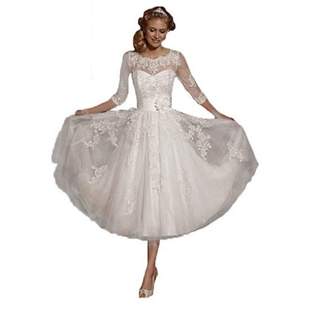 565d9ae07e2 White Lace Tea Length Wedding Dress