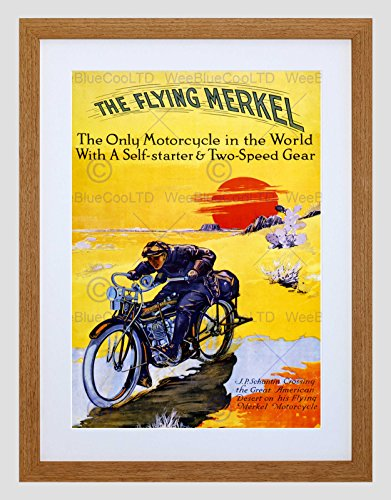 Advert Motorcycle Flying Merkel USA Transport Black Framed Art Print B12X4224 -