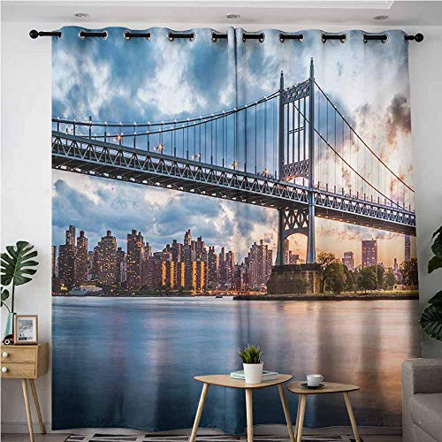 AndyTours Thermal Insulating Blackout Curtains,New York City,Kennedy Triboro Bridge in Queens New York Manhattan River Scenery,Room Darkening, Noise Reducing,W120x96L,Peach Blue Orange]()