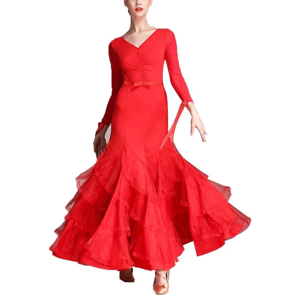 Rouge S Classique Simple Moderne Standard Standard Danse Danse de Spectacle Jupe Valse col en V Robes à Manches Longues Danse Costume