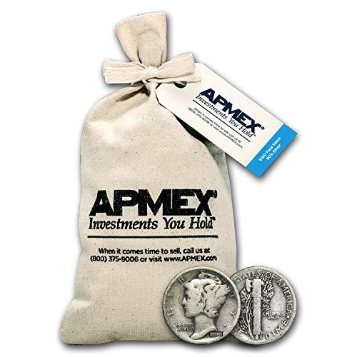 1916-1945 90% Silver Mercury Dime $100 Face-Value Bag Dime Very Good