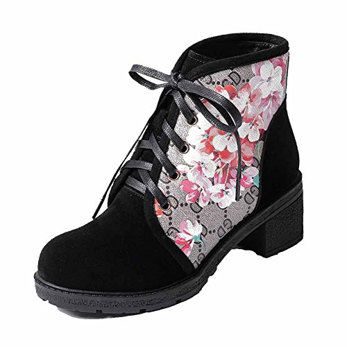 Allhqfashion Dames Lace-up Kitten-hakken Mix Materialen Assorti Kleur Lage Laarzen Zwart