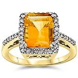14k Yellow Gold Genuine Citrine and Diamond Halo Ring, Birthstone of November