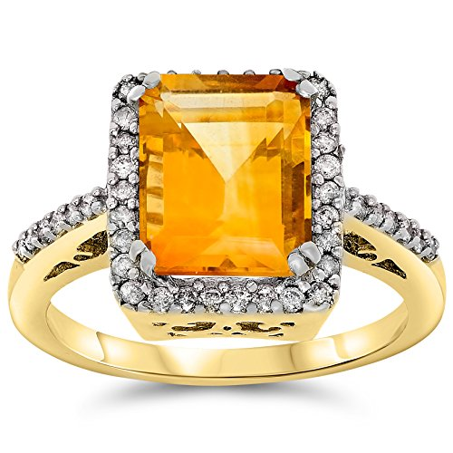 14k Yellow Gold Genuine Citrine and Diamond Halo Ring, Birthstone of (Gold Citrine Cocktail)