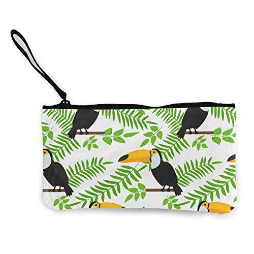 Toucan Sitting On Branch Wallet Coin Purse Canvas Zipper Cosmetic Pouch Bag Hang Out