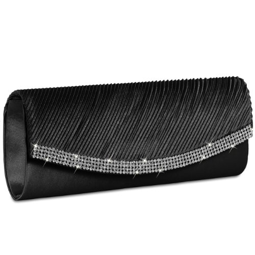 Black many CASPAR with Clutch TA291 Satin colours Rhinestones Womens Evening Bag Sparkling FqP7p