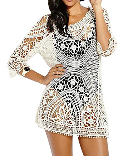 Bestyou® Women's Long Sleeve Lace Crochet Bikini Cover up Tunic Beach Dress (Beige) -