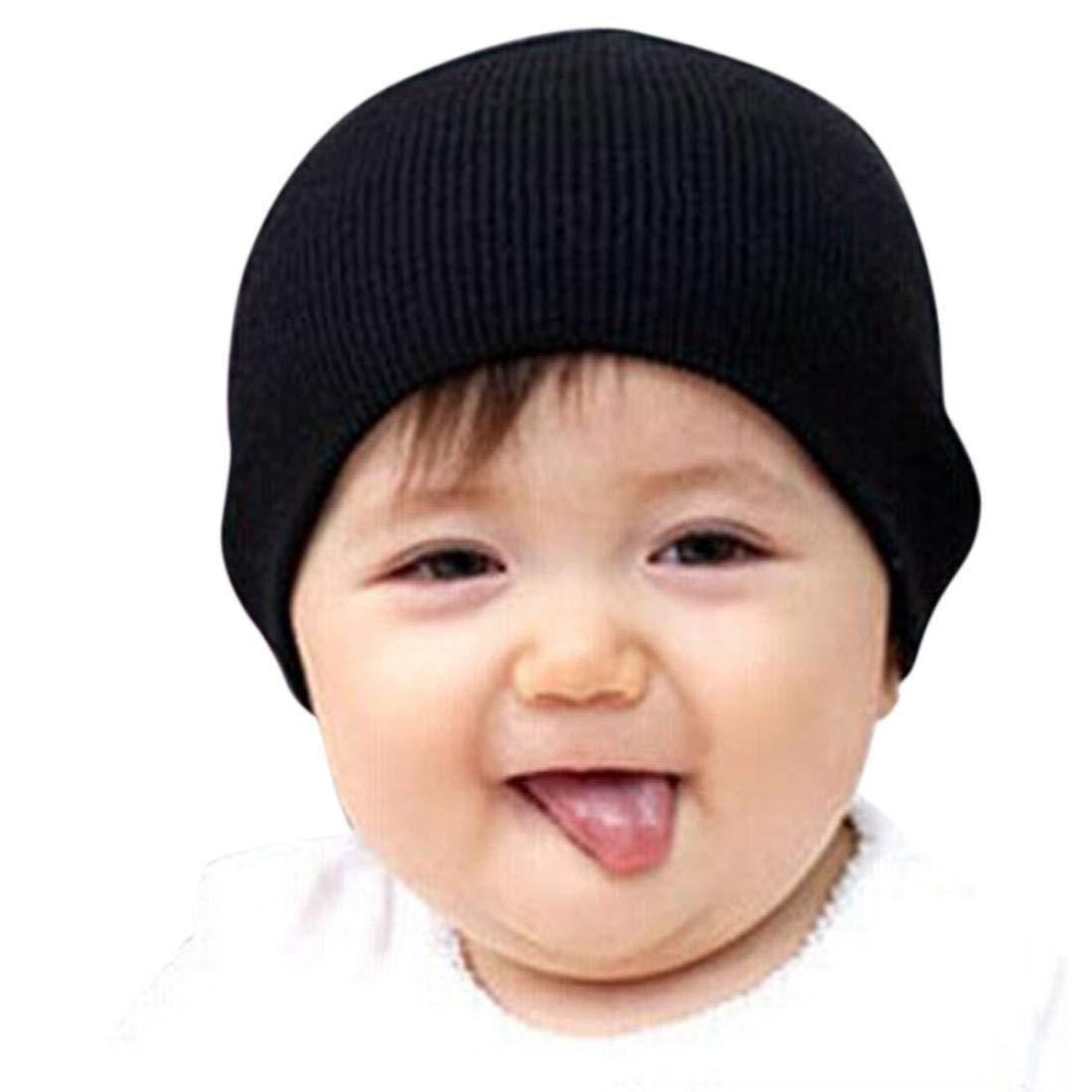 12a8fb154c89 Amazon.com  Ximandi Solid Baby Winter Hat Bonnet Enfant Kids Boy Girl  Infant Cotton Soft Warm Hats (Black