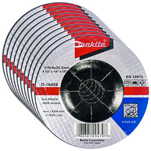 """Makita 10 Pack - 4.5"""" Grinding Wheel For Grinders - Aggressive Grinding For Metal - 4-1/2"""" x 1/4 x 7/8-Inch"""