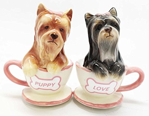 Terriers Cute Teacup Yorkie Puppy Love Ceramic Salt Pepper (Yorkie Terrier Teacup)