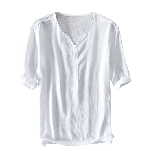 e958c78db71 Makkrom Mens Slim Fit Linen Henley Neck Shirts Casual Summer Solid T Shirts  (Small