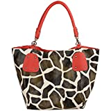 FASH Giraffe Print Faux Leather Tote Shoulder Handbag,Red,One Size