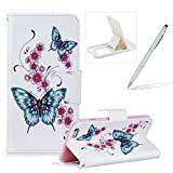 Leather Case for iPhone 6S Plus,Flip Wallet Cover for iPhone 6 Plus,Herzzer Stylish Butterfly Flower Pattern Magnetic Closure Purse Folio Smart Stand Cover with Card Cash Slot Soft TPU Inner Case for iPhone 6 Plus/6S Plus 5.5 inch + 1 x Free White Cellphone Kickstand + 1 x Free Silver Stylus Pen