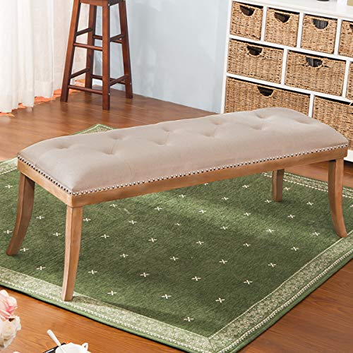 HARPER & BRIGHT DESIGNS Upholstered Button Tufted Bench with Solid Wood Legs and Nailhead Trim (Fabric Beige) by Harper & Bright Designs (Image #7)