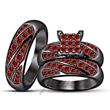 ArtLine Jewels 14k Black Gold Plated Alloy Round Cut Red Garnet Engagement Wedding Ring Trio Set