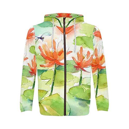 - INTERESTPRINT Watercolor Lilies Dragonfly Men's Full-Zip Zipper Hoodies Sweatshirt 2XL