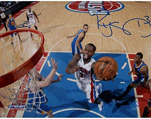 (Rodney Stuckey Detroit Pistons at the Basket in White Jersey Signed 8x10 Photo (Getty #157707338) - Steiner Sports Certified)