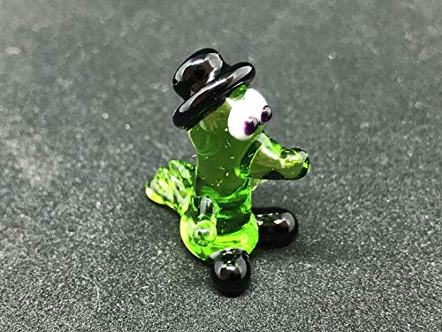 Collectible Glass Crocodile Miniature Figurine 1 Inch Mini - Murano Crocodile Glass