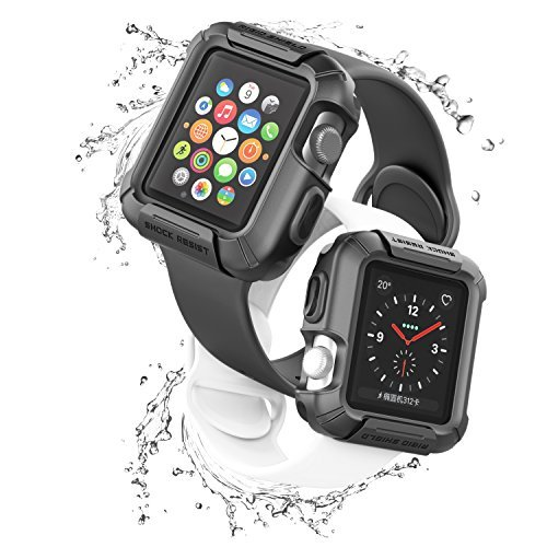 Beacoo Apple Watch Case, Rigid Shield with Resilient Shock Absorption Rugged Protective TPU iWatch Case for 42mm Apple Watch Series 3/Series 2/1/Original (2015)/Nike+ Sport Edition