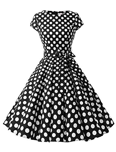 men Vintage 1950s Retro Rockabilly Prom Dresses Cap-Sleeve S Black White Dot B ()