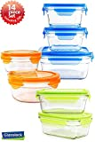 Snaplock Lid Tempered Glasslock Storage Containers assorted color lids 14pc set Combo with Gift Box - Microwave & Oven Safe Spill Proof