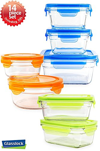 Snaplock Lid Tempered Glasslock Storage Containers assorted color lids 14pc set Combo with Gift Box - Microwave & Oven Safe Spill Proof (Oven Microwave Combo)