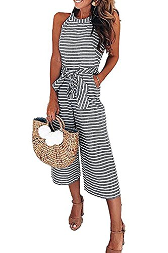 Liyuandian Womens Striped Wide Leg One Piece Jumpsuits Summer Sleeveless Zipper Back Long Rompers
